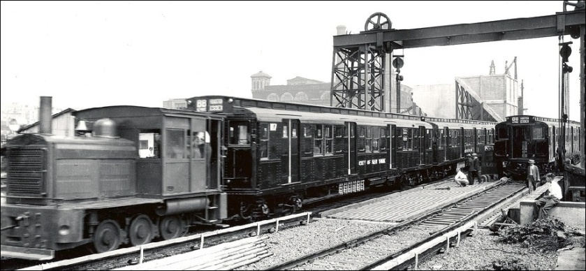 1931 American Car & Foundry-built R-1 number 107, being delivered at 207th Street Yard in August, 1931