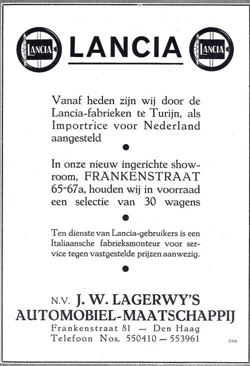1935 lancia Lagerwij ad