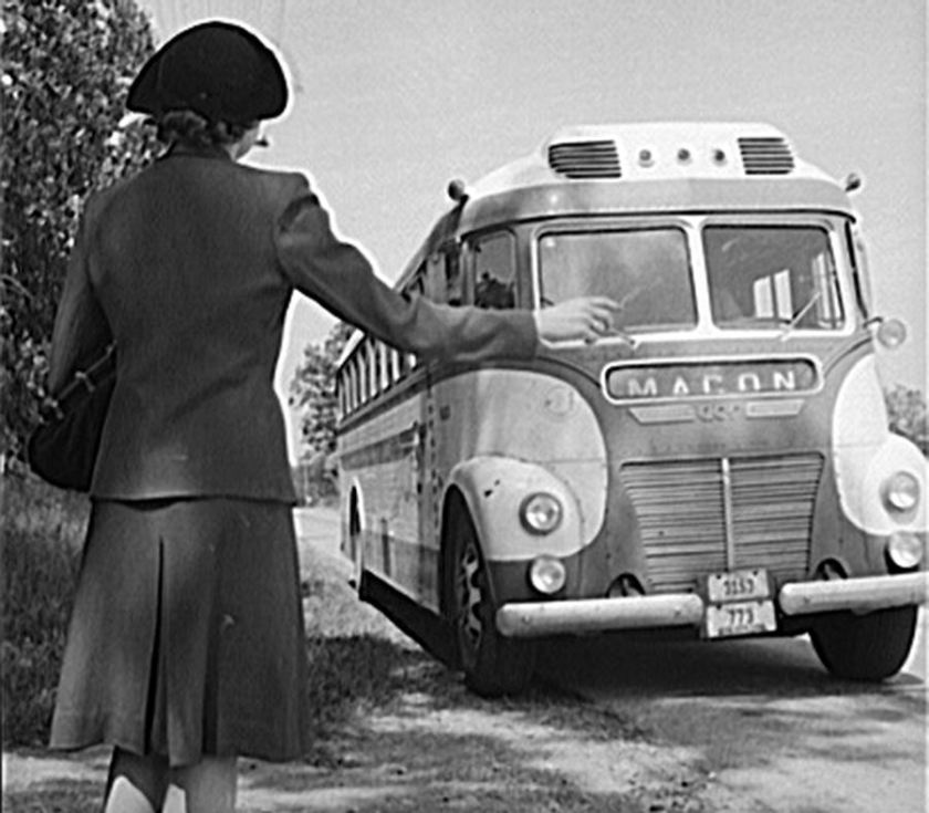 1941 ACF Greyhound to Macon hailed by woman unknown photomaker