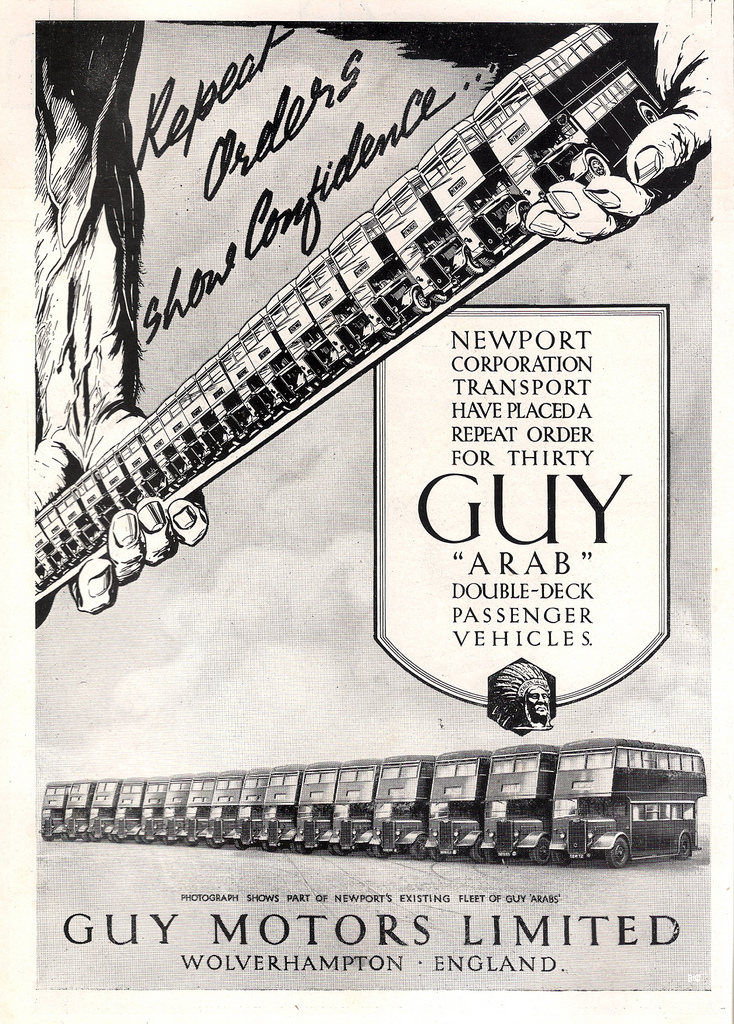 1947 Guy Motors of Wolverhampton, Newport buses bus advert
