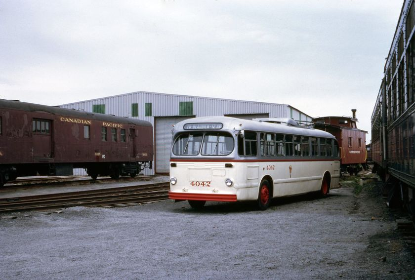 1947 Montreal_CCF-Brill_trolleybus_4042_at_the_Canadian_Railway_Museum_in_1971
