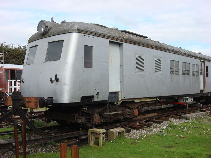 1951-built articulated Sentinel-Cammell steam railcar, no. 5208, at the Buckinghamshire Railway Centre