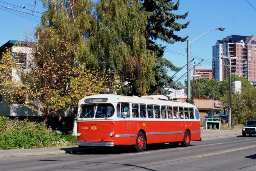 1954 CCF-Brill trolley bus on the Edmonton trolley bus system Edmonton_CCF-Brill_trolleybus_202