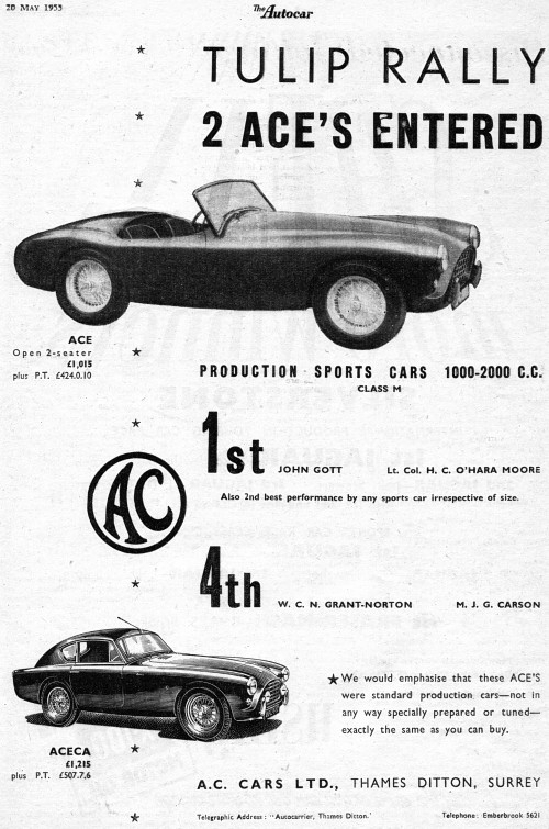 1955 AC ace may ad