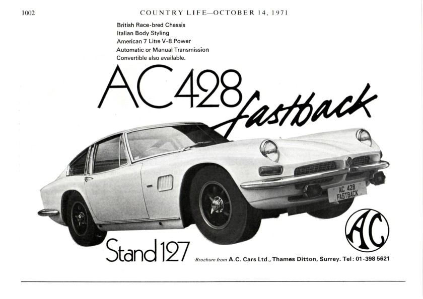 1972 AC 428 Frua Listing Full