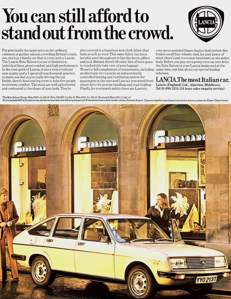 1979 Lancia Beta Saloon ad