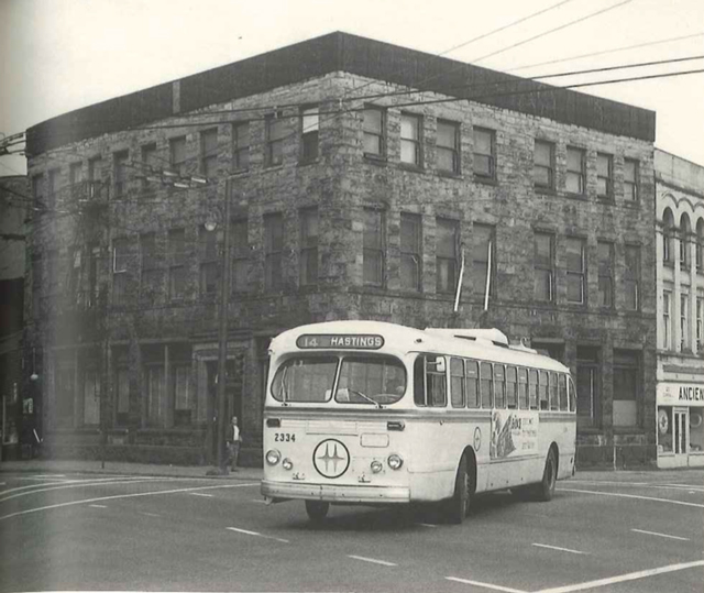 A Brill trolley with the BC Hydro colours, operating as the 14 Hastings in 1967