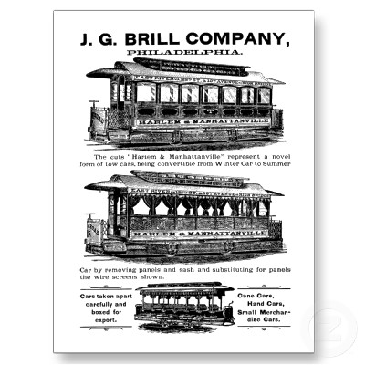 brill company streetcars and buses postcard