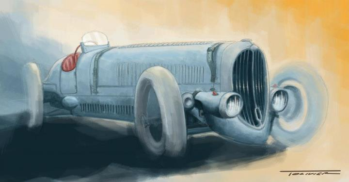 Delahaye 135 sport drawing