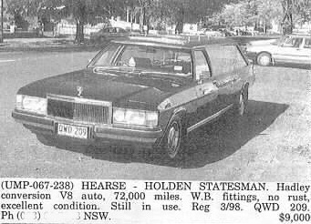 Holden Statesman WB hearse