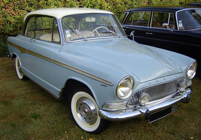 Simca Aronde Monaco 2-door pillarless saloon, promoted in some markets as a hardtop coupé
