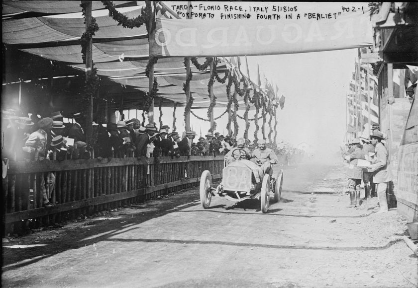 1908 A racing-model Berliet driven by Jean Porporato in the 1908 Targa Florio race
