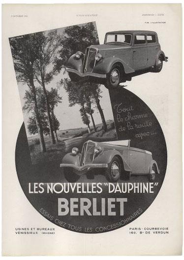 1937 Berliet sedan and roadster