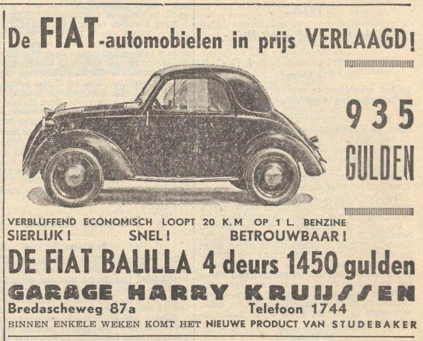 1939 Fiat 508 Balilla, advertisement, Netherlands