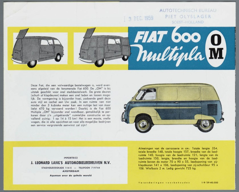 1956 FIAT 600 Multipla OM Bestel Brochure