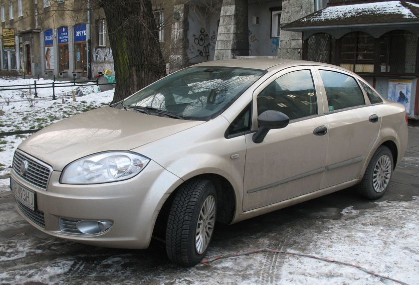 Fiat Linea car in Kraków, Poland. Built Tofas in Turkey.