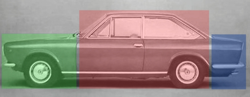 three-box, Notchback design of the Fiat 124 Coupé