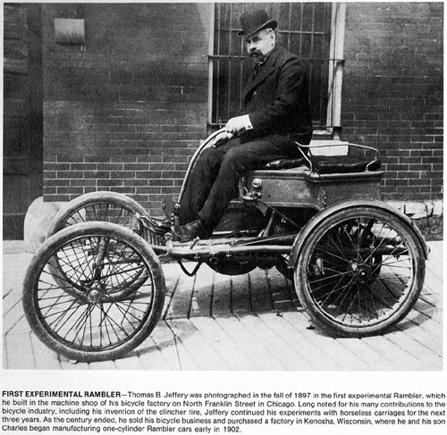 1897 Thomas B. Jeffery and his 1897 Rambler prototype