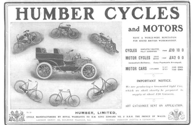 1903 Humber advertentie