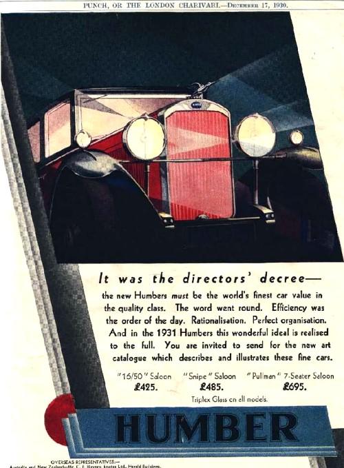 1931 humber advert