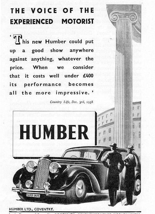 1939 humber super snipe ad