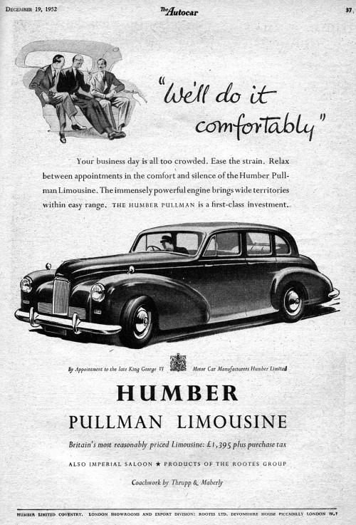 1952 humber pullman limousine dec ad