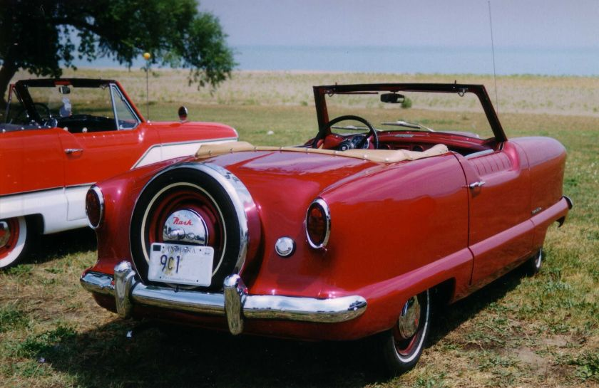 1953 Nash Metropolitan convertible red by lake