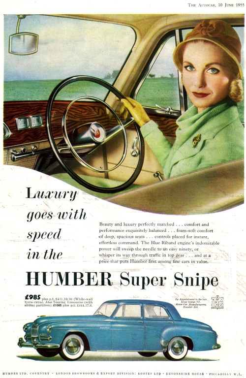 1955 humber super snipe june ad