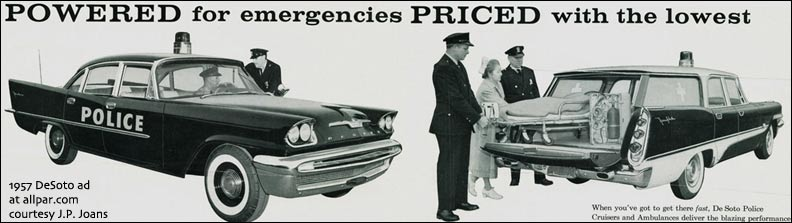 1957 De Soto police + ambulance
