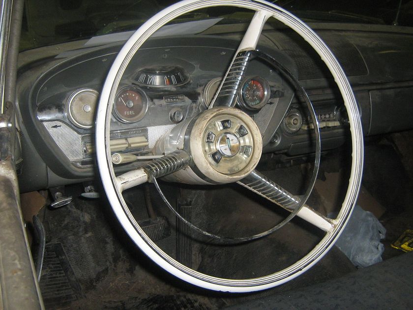 1958 Edsel Ranger interior, showing the Teletouch system and Rolling Dome speedometer.