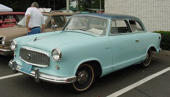 1959 Rambler American 2-door compact sedan by American Motors Corporation (AMC) -- the first generation design. Painted in optional factory two-tone blue.