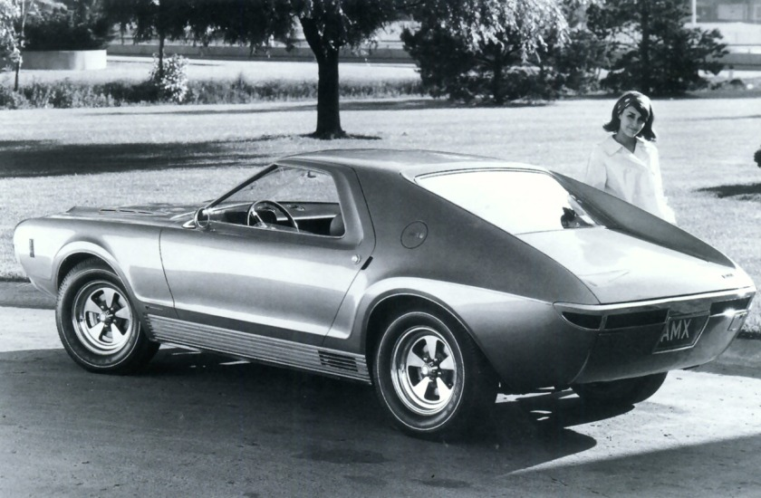 1966 AMC AMX Vignale Concept Car w-290HP Engine Rr Qtr BW