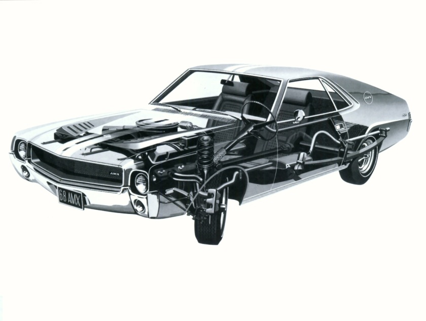 1968 AMC AMX Cut-Away Frt Qtr BW