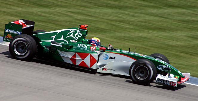 2004 Jaguar R5 being driven by Mark Webber in 2004—the team's last season in F1