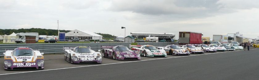 A grouping of various XJRs, from left to right An XJR-9, three XJR-12s, another XJR-9, two XJR-11s, an XJR-10, an XJR-6, and an XJR-5.