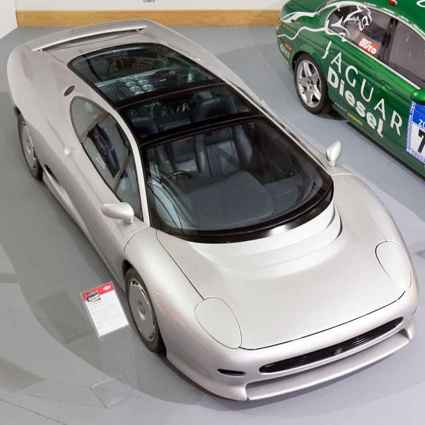 Jaguar XJ220 concept car with V12 engine at the Heritage Motor Centre, Gaydon