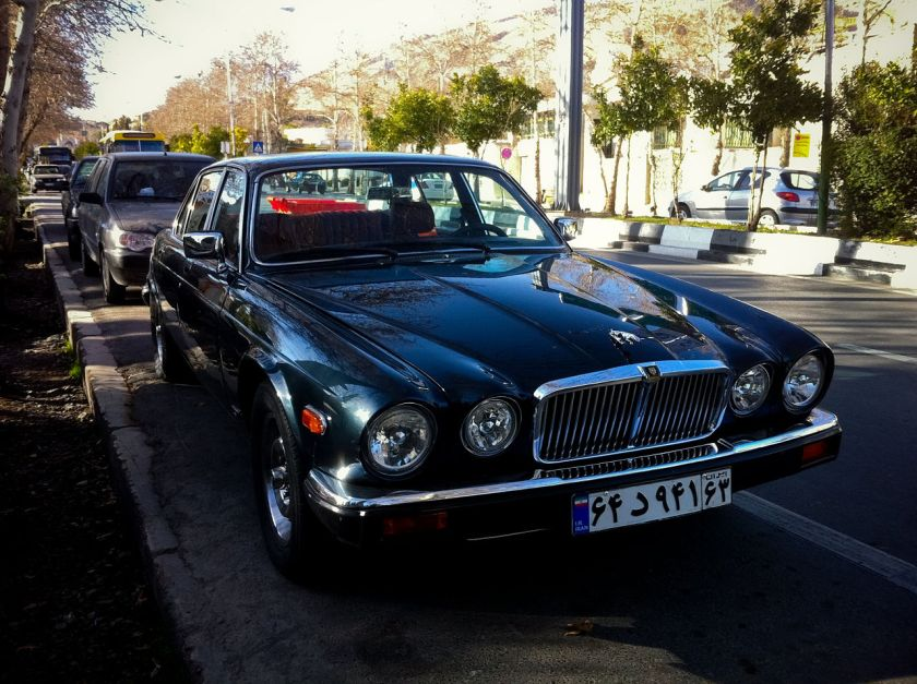 Jaguar XJ6 alongside Eram Garden in Shiraz, Iran.