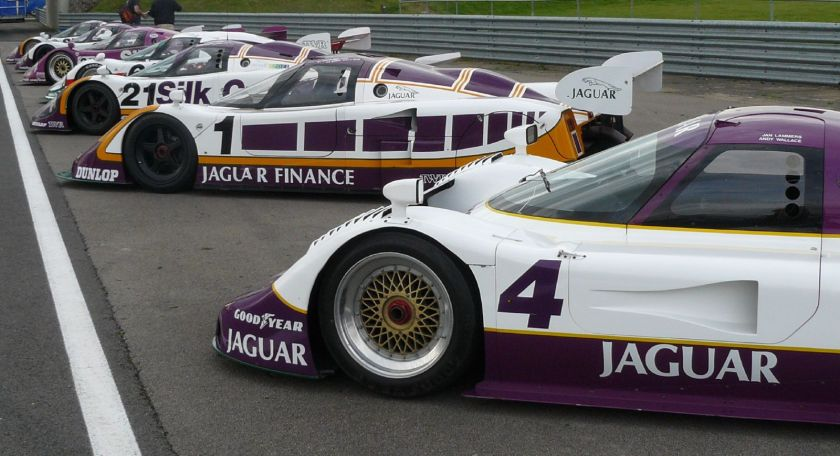 Several XJRs seen in their traditional European Silk Cut paint scheme.