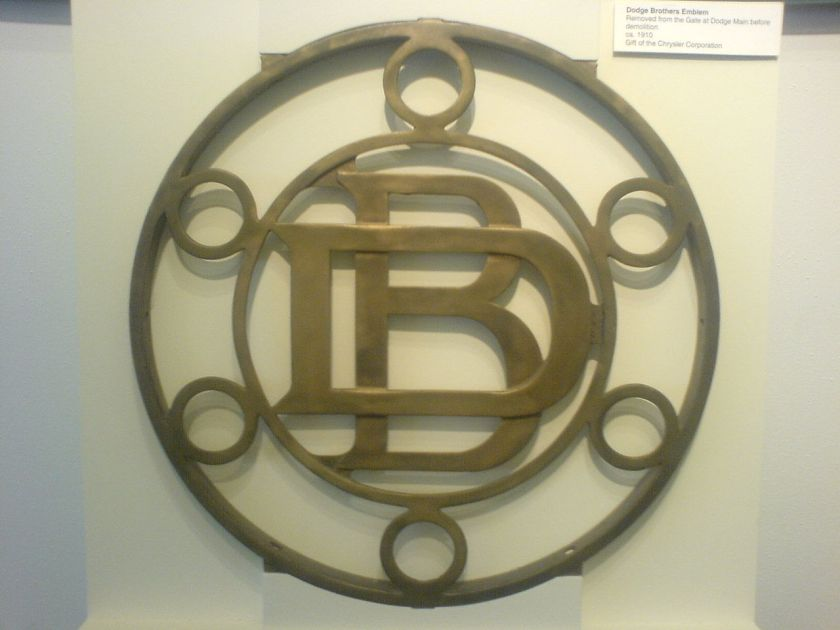 1910 Dodge Brothers emblem ca. 1910, removed from the gate of the Dodge Main plant before its 1981 demolition