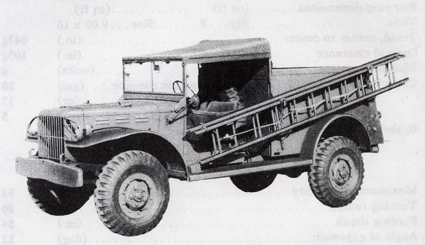 1940-45 Dodge WC-59, 3-4-ton K-50 telephone truck with ladder on side.