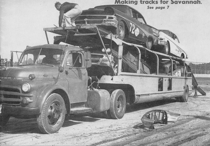 1959 Dodge NASCAR Fords on Transporter