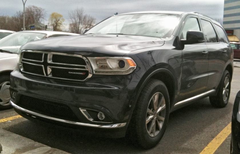 2014 Durango with refreshed headlights and grille.