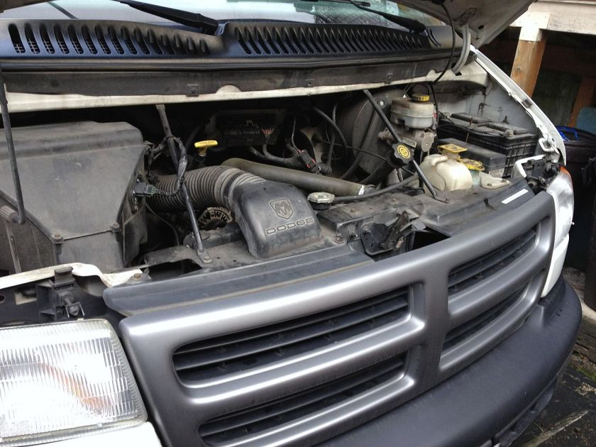 3rd-generation Dodge Ram Van engine bay