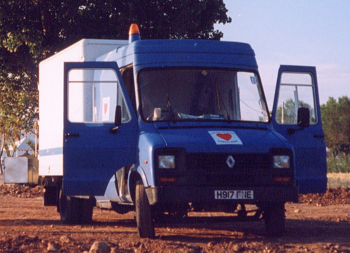 Renault Dodge 50 B56 (5600kg) with crew-cab and box body, formerly of British Gas, seen here working for Aid Convoy on a humanitarian project to the former Yugoslavia