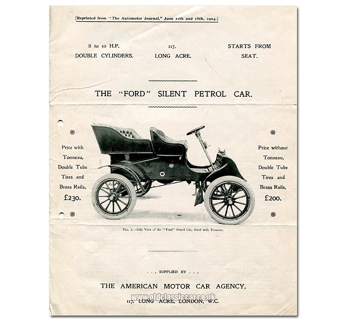 1903 Ford Model A - original sales leaflet