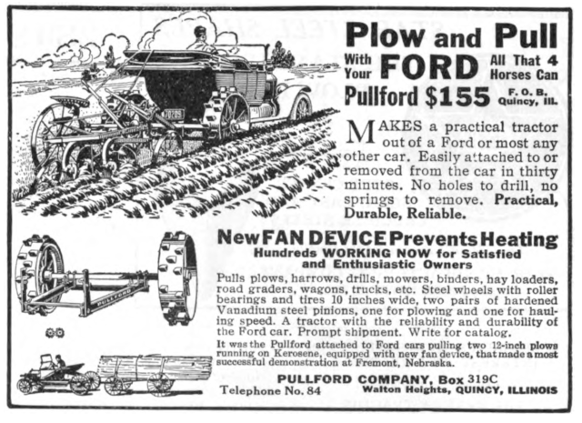 1918 Pullford auto-to-tractor conversion advertisement