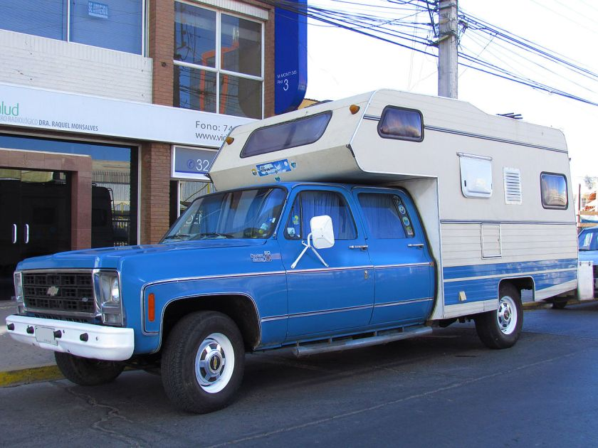 1979 Chevrolet C-20 Custom Deluxe Crew Cab with added camper