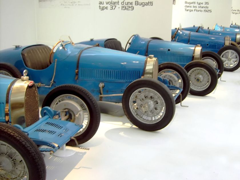 1925-29 Bugatti Type 37 (left) and 35 (right) cars at the Cité de l'Automobile Museum, Mulhouse