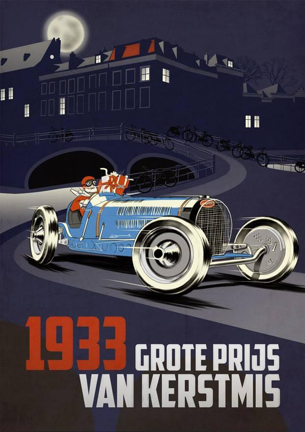 1933 Bugatti Christmas poster  Type 59  PT