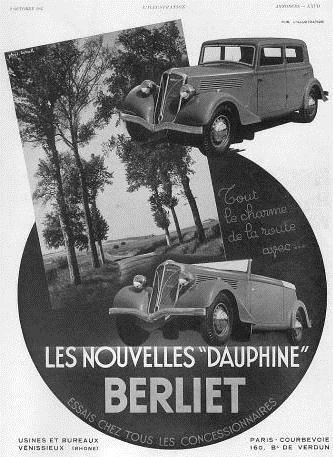 1937 Berliet 11 CV Dauphine berline